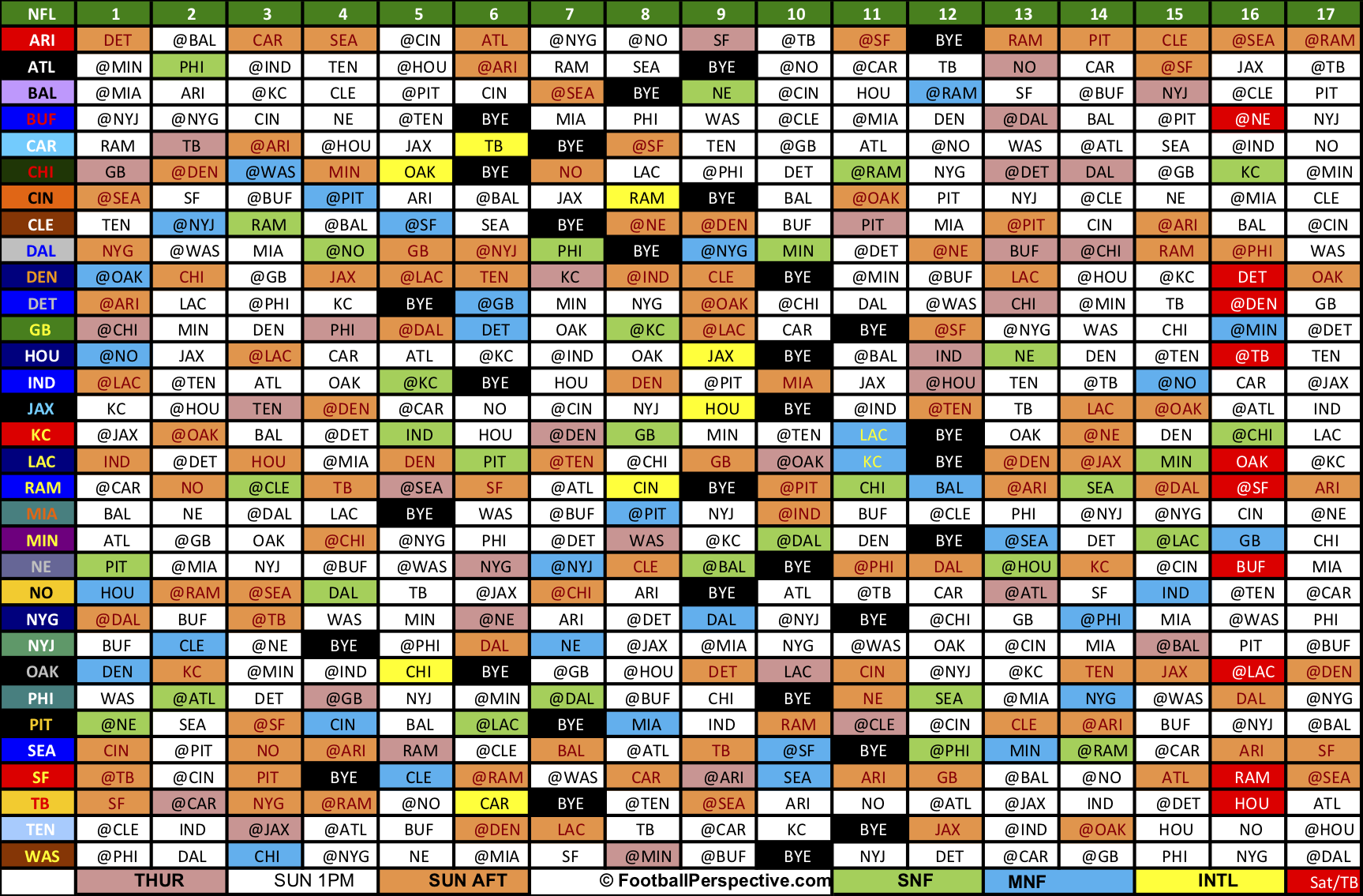 Printable 2019 Nfl Schedule The 2019 NFL Schedule